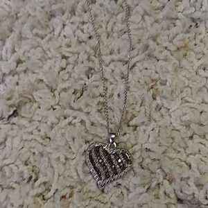 Real silver diamond heart necklace
